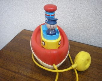 1967 Fisher Price Tuggy Tooter Pull Toy, Collectible Toys, Fisher Price, Pull Toys, Boat Toys, Noise Toys