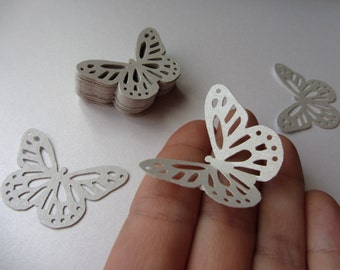 Paper butterflies 50 die cut butterflies, die cuts, wedding decorations, scrapbooking, weddings, light silver butterflies