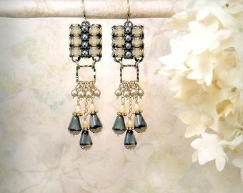 Shadowplay - Champagne Honey Chandelier Earrings Gray Grey Dangle Earrings Boho Vintage Style Earrings Art Deco Edwardian Gatsby Wedding