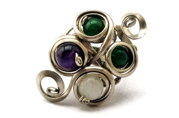 Wire Wrap Ring with Jade, Amethyst and Moonstone - Wire Wrapped Jewelry - Gemstone Ring