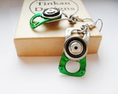 Metal Dangle Earrings - Green Black and Silver, Recycled Ring Pull and Inner Tube - Eco Friendly Gift