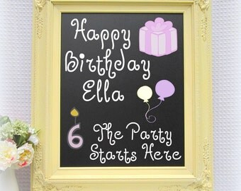 "BIRTHDAY PARTY DECOR Soft Buttercream Yellow Birthday Party Decorations Decor Magnetic Chalkboard 27""x23"" Yellow Wedding Framed Chalk board"