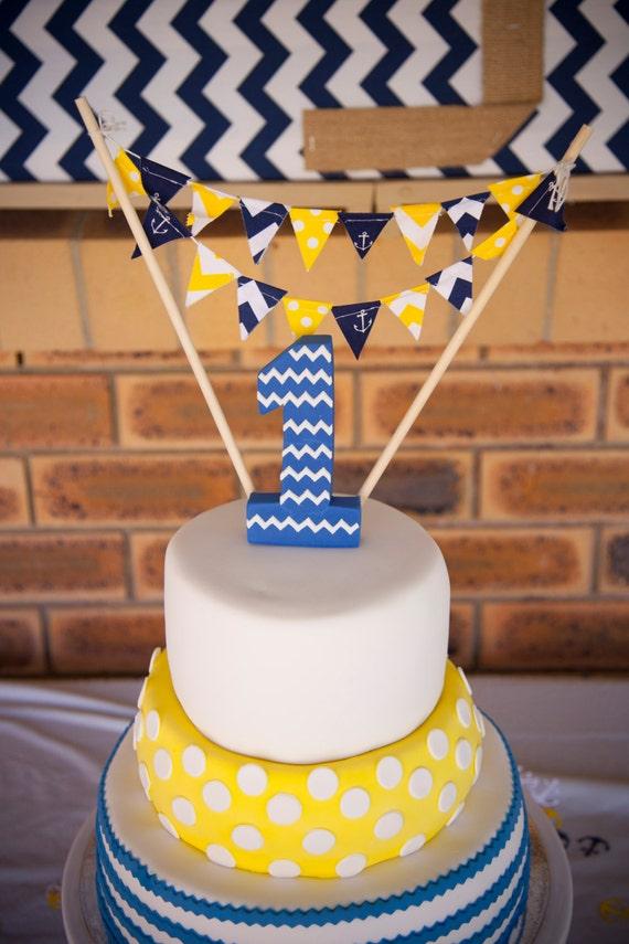 Birthday Party Banner Cake Topper Mini Cake Bunting Navy