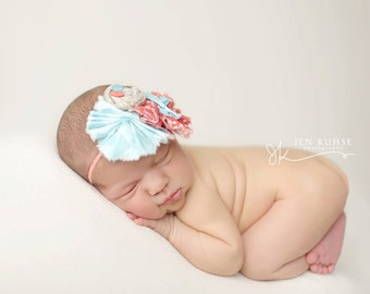 Quinn- coral, aqua and taupe mini ruffle and rosette headband