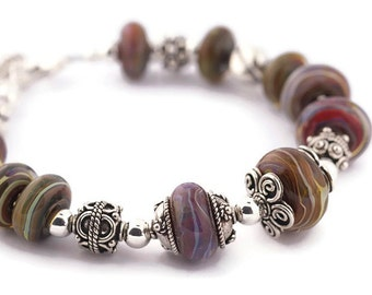Shades of life glass and silver bracelet