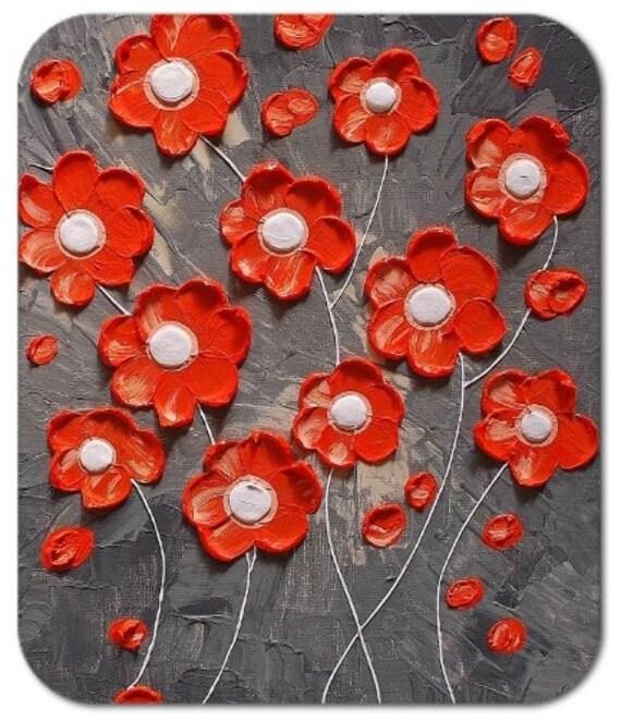 Mousepad Mouse Pad Fine Art Painting Orange Blossoms On Gray Flowers Grey Impasto