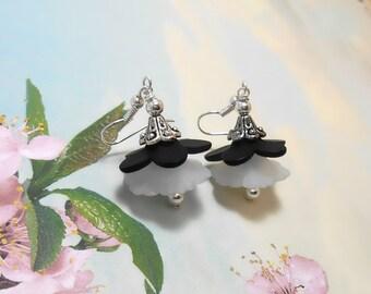 Black & White Lucite Flower Earrings - Clearance - Spring Earrings - Floral Earrings