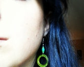 Reserved: OOAK Upcycled green paper bead and glass bottle ring earrings