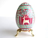 reindeers Blue and Red goose egg, Blue Pysanka, Ukrainian Easter egg hand painted egg shell