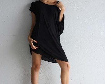 Black Dress - Off the Shoulder Dress - TShirt Dress - Black Mini Dress