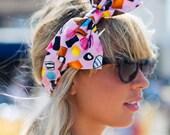 Pink Liquorice Allsorts Dolly Mixture Bow Headband, Bow Headband, Dolly Bow, Rockabilly Pin Up Girl Headband, Oversized Bow Headband
