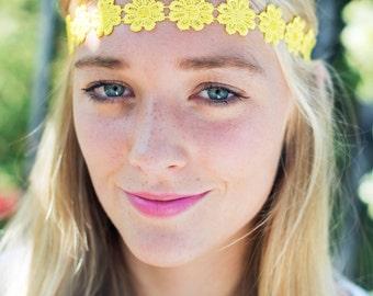 Sunshine Yellow Daisy Headband, Daisy Trim Elastic Headband, Hippie Headband, Summer Hair Accessory, Cute Hair Band