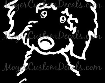 Personalized Golden Doodle Dog (#2) Vinyl Decal Sticker YOU PERSONALIZE Name and Color