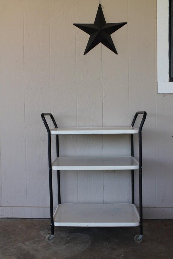 Vintage Metal Kitchen Cart White & Black by