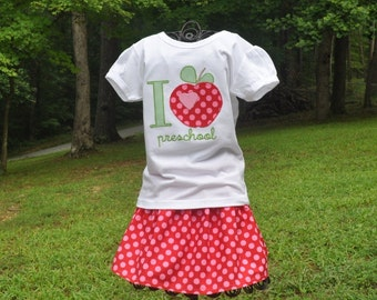 Personalized Monogrammed First Day of School Shirt with Matching Skirt