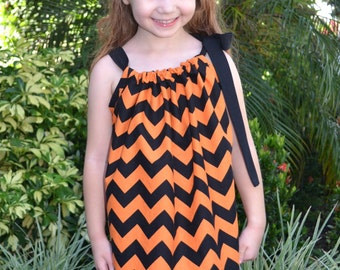 Halloween Dress - Pillowcase Dress - Orange and Black Halloween Dress -  Handmade - Baby Halloween Outfit - Girls Halloween Outfit