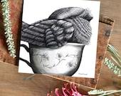 Tea Cozy Frogmouth 2 - ECO Limited Edition Fine Art Print