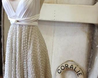 Mint Polkadot Lace-Octopus Convertible Wra -Short Circle Skirt Dress- Bridesmaids, Wedding
