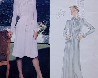 Vintage Vogue American Designers Sewing Pattern, Albert Nipon 80s Dress, Vogue 2640, XS Size 8 Bust 31.5