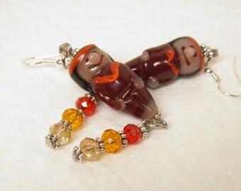 Thanksgiving Earrings, Sterling Silver and Artisan Lampwork Indian Earrings, Autumn Earrings, Fall Earrings Thanksgiving Jewelry Autumn OOAK