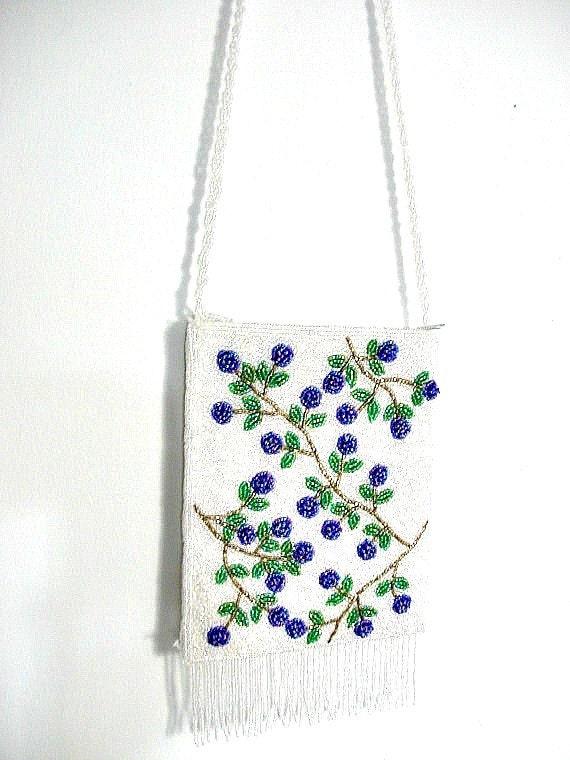 Vintage Beaded Bag - fringe bag - white purse - boho bag - evening bag - gypsy bag - 70s handbag