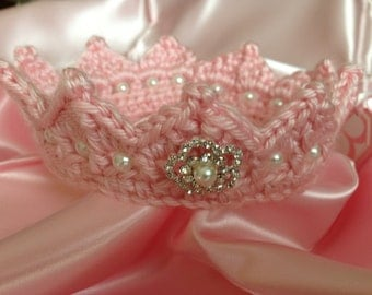 Princess Newborn CROWN Pink Jeweled Photo Prop Tiara