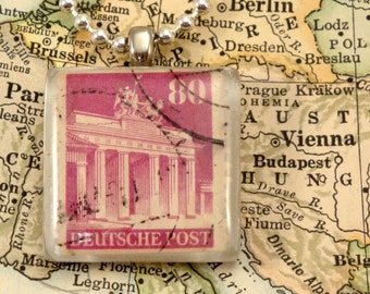 Vintage German Postage Stamp Necklace - Deutsche Post