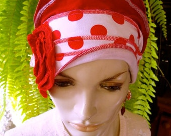 Womens hat Red and White Spots 1920s Womens beanie Headband Soft Chemo headwear Cloche Flapper hat Bohemian hat with red flower