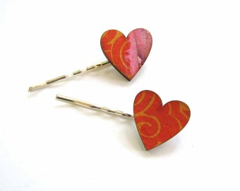 heart hair clip set in corange & pink collage paper - 2 bobby pins jewelry / hair accessories
