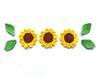 Crochet flowers applique - green leaves - yellow flower embellishments - sunflower applique - cotton flowers - set of 3
