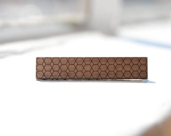 Skinny Tie Clip | Hexagonal Honeycombs | Walnut Wood | Modern Geometric Anniversary Gift for Man
