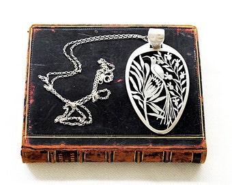 Spoon Necklace Sugarbird Protea Statement Spoon pendant African Sugarbird Protea Fynbos floral hand pierced long chain silverware Necklace