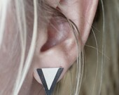 Sterling Silver Triangle Studs - Black and White Collection