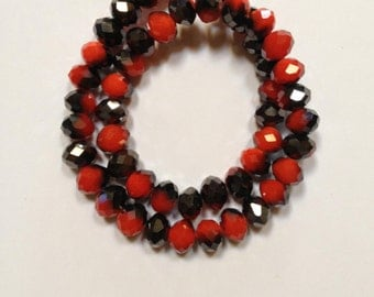 Midnight Berry - Red and Carbon Black - Faceted Czech Crystal Rondelle Beads - 7mm - 20 beads