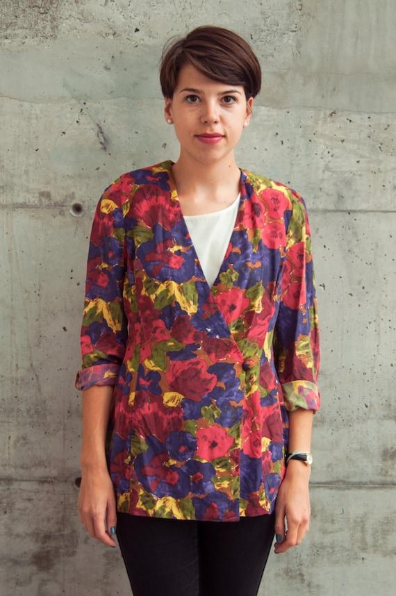Silk Floral Cardigan / Summer Silk Blazer / Abstract Bold Blouse