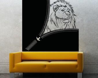 Vinyl Wall Decal Sticker Zipper Lion OSAA1362s