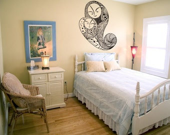 Vinyl Wall Art Decal Sticker Mother and Child Paisley Design OSDC790s