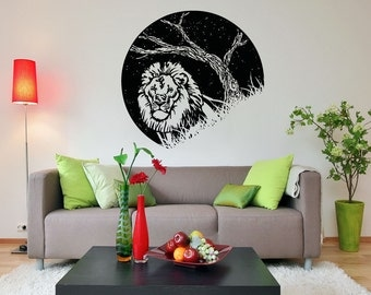 Vinyl Wall Decal Sticker Lion at Night OSAA1553s