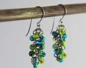 OUT OF TOWN - Teal Lime Cluster Earrings - Small Beaded Dangle Earrings - Colorful Teal Blue Turquoise Lime Green Cute Bright Earrings
