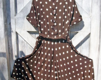 Fabulous Vintage Dress Lucy Style 40s or 50s Cocoa Brown