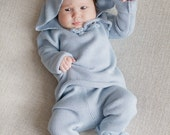 Baby Boy clothes Baptism gown 2 piece set - Hoodie Sweater and Diaper Cover Longies Baby boy coming home outfit