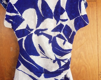 70s YOUNG EDWARDIAN by ARPEJA--The 70s Does the 40s--Cobalt and White Dress--Silky--Peplum--Size 4