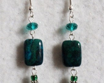 Dangle Earrings, Chrysocola, Gemstone, Irredescent Green, Floral Glass Beads, Swarvoski Crystal Rondelle Beads, Emerald Green