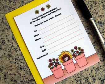 flower pot sunflower baby shower invitations for either boy or girl customizable lined with pastel yellow envelopes - set of 10