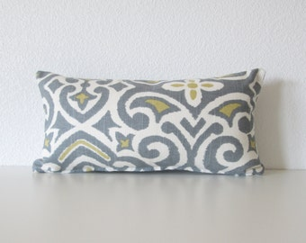 Dwell Studio New Damask Greystone 8X16 off white gray blue citrine mini lumbar pillow cover