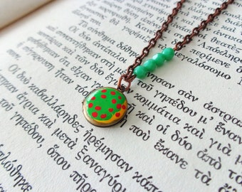 Green red art locket