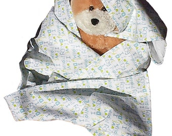I Love Mommy n Daddy Baby Blue Flannel Blanket, handmade toddler boy receiving swaddling blanky