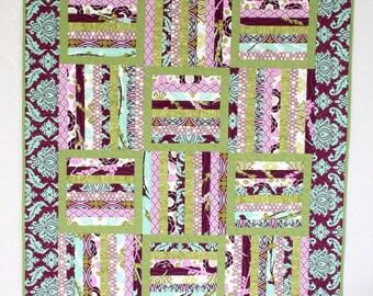 Framed Rails Baby Girl Quilt - Purple, Green, Aqua Quilt - Joel Dewberry Aviary 2
