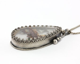 """Ready to Ship - Natural Lodolite Quartz """"Seascape"""" Necklace Pendant - Sterling Silver OOAK, Ocean, Beach, Special Occasion"""