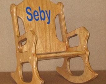 Wooden Kids Rocking Chair- personalized - oak finish